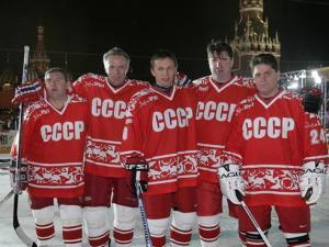 The Magic Five vlnr Vladimir Kroetov, ´Slava´ Fetisov, Igor Larionov, Alexei Kasatonov en Sergei Makarov